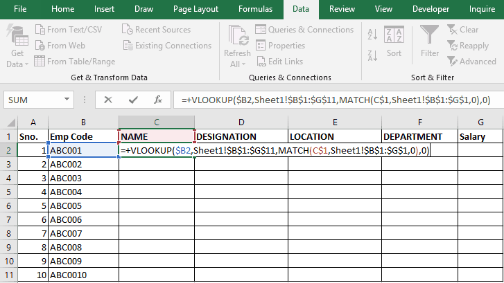 Vlookup with Match Formula