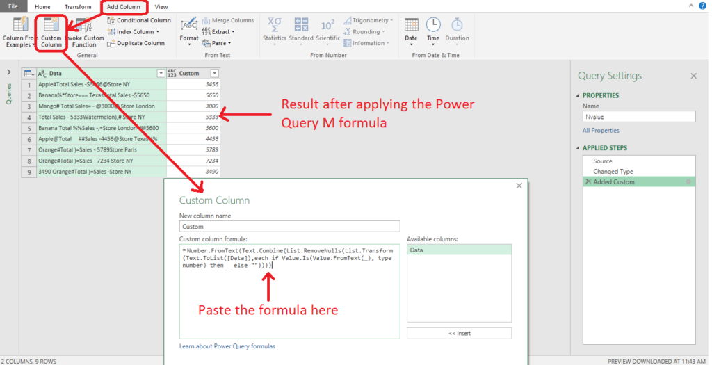 Extract only numeric values using power query 2