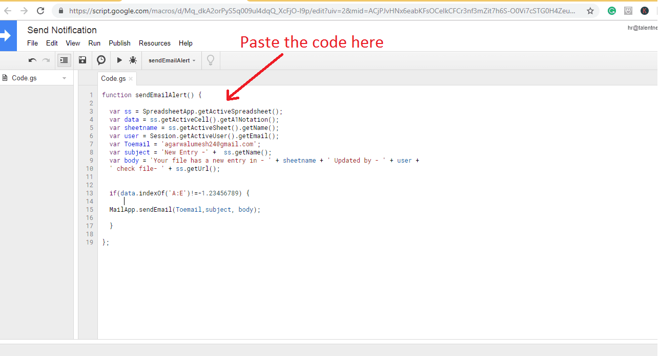 Google Script Code for sending an auto email notification when any cell value changes in the dataset