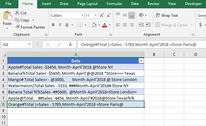 Raw Data to clean using Power Query