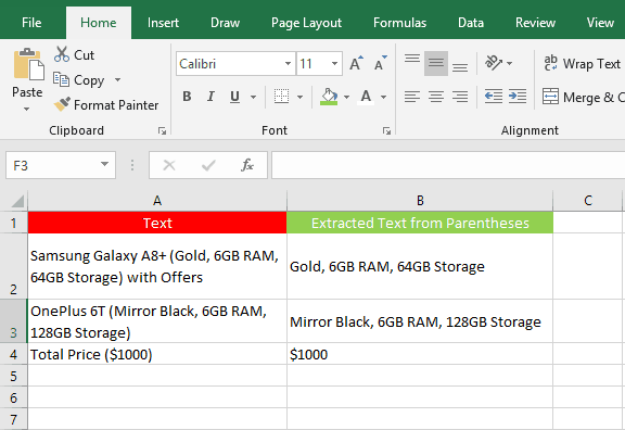 How to extract text from a bracket cell in excel