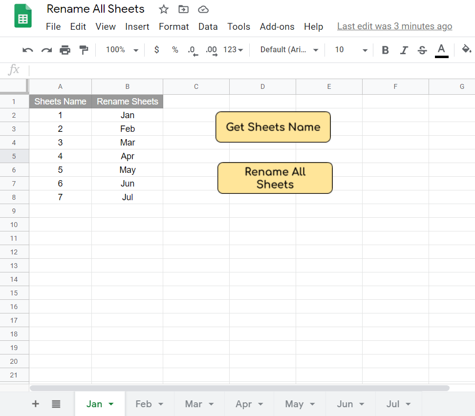 Rename all sheets in Google Sheets