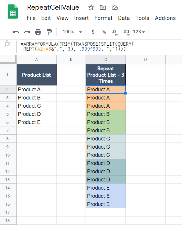 How to repeat a cell value to n times in google sheets